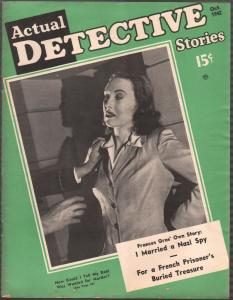 Actual Detective 10/1942-crime-mystery-horror-pix-pulp thrills-WWII-Nazi spy-FN
