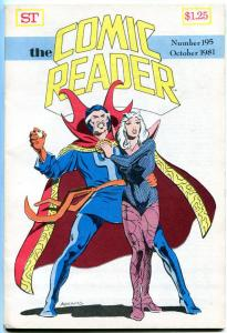 COMIC READER #195, VF, Doctor Strange, Fanzine, 1981, more in store