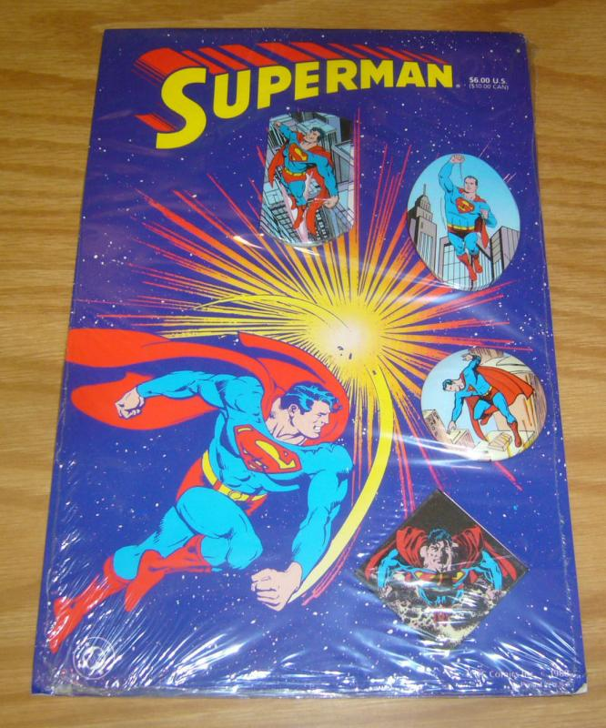 Superman set of (4) pins - new on card - dc comics 1988 - john byrne - ordway