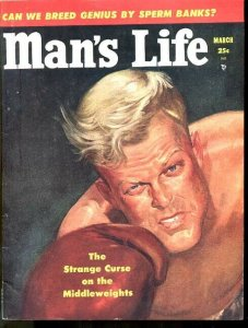 MAN'S LIFE 1953 MARCH-BOXING COVER-#3-RARE-WAR-VIOLENCE FN/VF