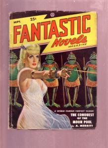 FANTASTIC NOVELS SEPT 1948  PULP-HOT BABE WITH RAY GUN- VG
