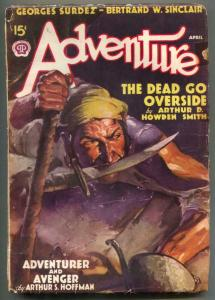 Adventure Pulp April 1938- Dead Go Outside VG-