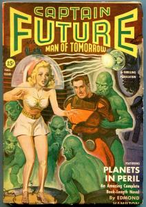 Captain Future Pulp Fall 1942- Good Girl art Belarski cover- Edmond Hamilton FN-