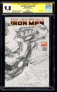 Invincible Iron Man #500 CGC NM/M 9.8 White Pages Sketch SS Signed Joe Quesada!