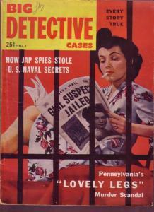BIG DETECTIVE CASES 1942 #1 GIRLS - DR SEUSS HITLER ART VG