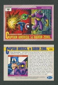 1991 Marvel Comics II  Card  #99 ( Captain America vs Baron Zemo )  MINT