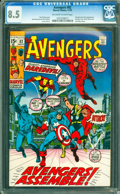 Avengers #82 CGC Graded 8.5 Daredevil and Aries appearance. Fantastic Four, P...