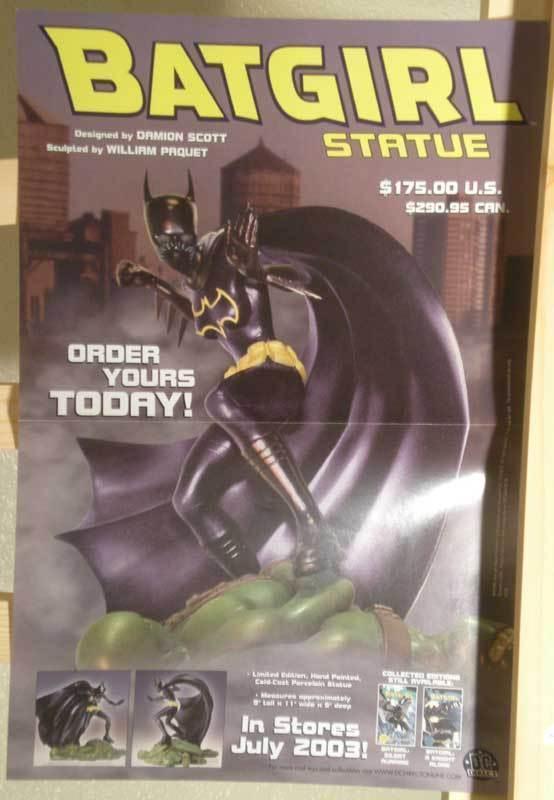 BATGIRL STATUE Promo poster, 11x17, 2003, Unused, more Promos in store