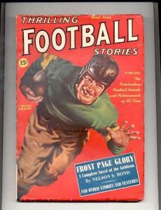 THRILLING FOOTBALL STORIES PULP-#1-1939-PARKHURST ART ! FN