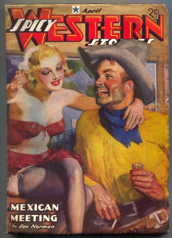 Spicy Western Pulp #5 April 1937-Mexican Meeting- HJ Ward cover