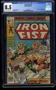 Iron Fist #14 CGC VF+ 8.5 Off White to White 1st Sabretooth!