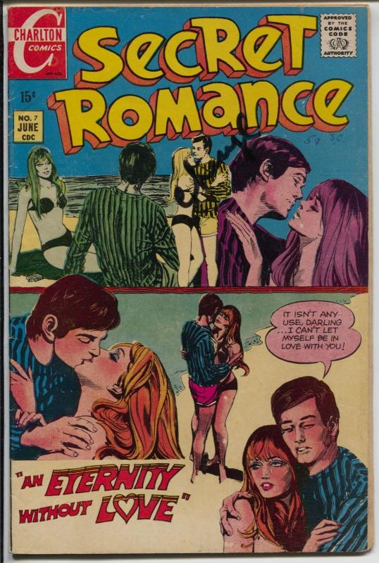 Secret Romance #7 1970-Charlton-signed by Cheryl-Beatniks-Greenwich Village-VG
