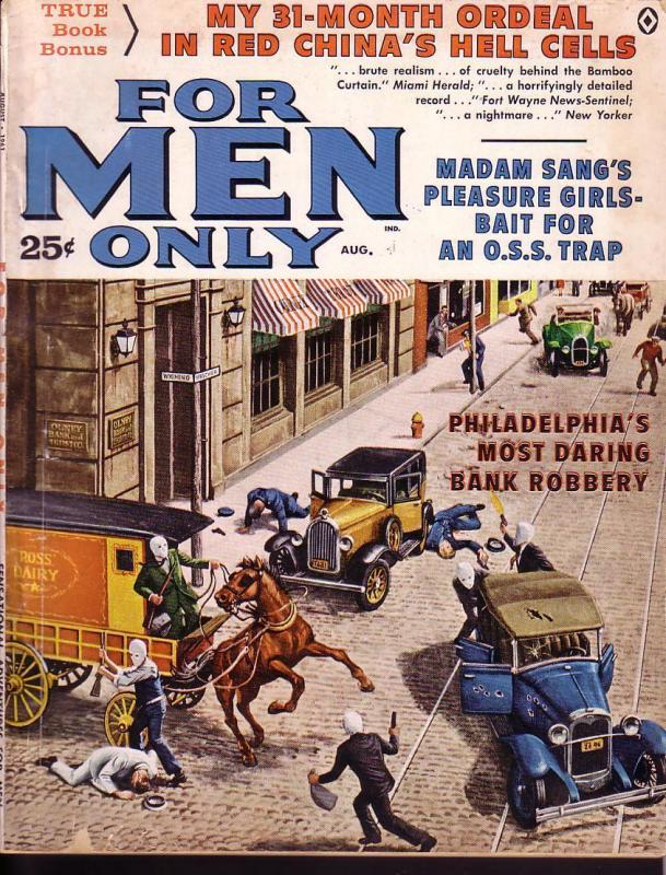 FOR MEN ONLY AUG 1961 BANK ROBBERY COVER --CHEESECAKE VG