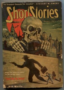 Short Stories Pulp 1/25/47- Skull cover- Death Hits the Jackpot VG