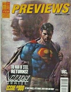 Previews Magazine Catalog Feb 2011 - Superman Action Comics Man of Steel Returns