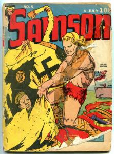 Samson #5 1941- American Flag / Nazi cover- Fox Golden Age Rare F/G