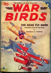War Birds Pulp February 1934- Belarski cover- Frederick Painton VG-