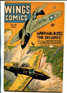 Wings #63 1945-Fiction House-WWII era-air war-chained woman splash panel-VG