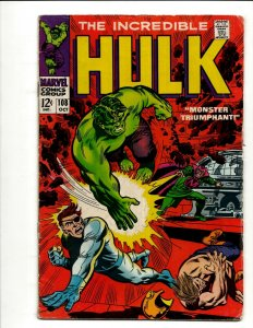 Incredible Hulk # 108 FN- Marvel Comic Book Iron Man Captain America Thor BJ1