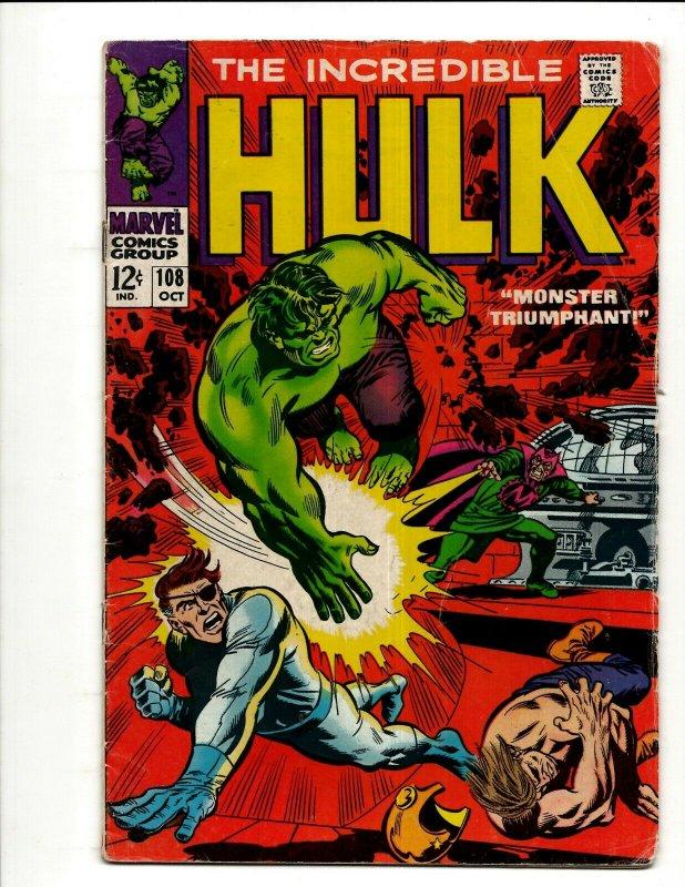 Incredible Hulk # 108 FN- Marvel Comic Book Iron Man Captain America Thor BJ1