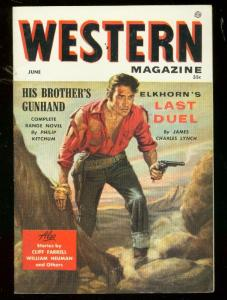 WESTERN MAGAZINE #1 1955-WILD COVER-ATLAS PULP FICTION VF