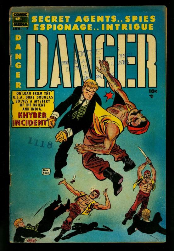 Danger Comics #7 1954- Don Heck cover- Secret Agensts G/VG