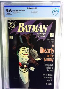 Batman #429 (1989) CBCS NM 9.6 White Page Starlin  Mignola Death in Family Comic