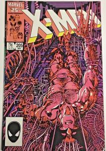 UNCANNY X-MEN#205 VF 1986 BARRY SMITH ART WEAPON X MARVEL COMICS