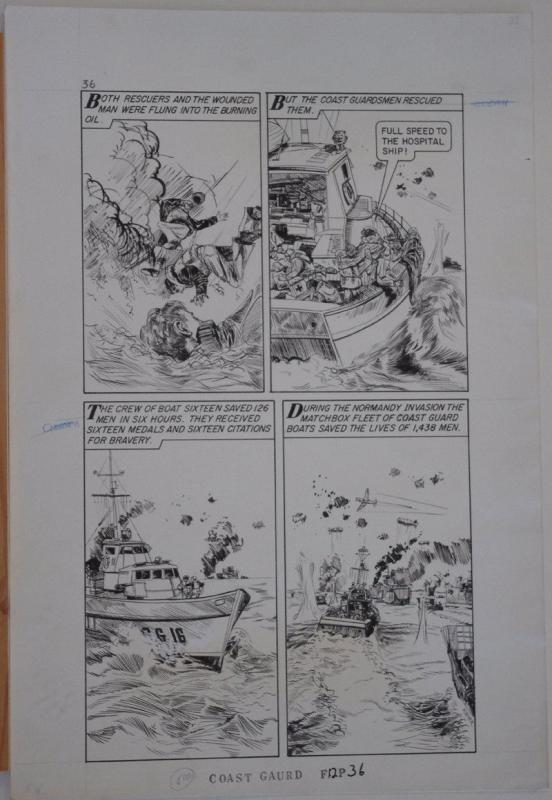 KIRNER original art, WORLD AROUND US #12 pg 36,14x 21,1959,Coast Guard, MatchBox