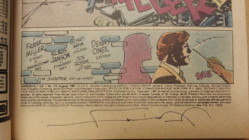 Daredevil #173 Issue with Old School Frank Miller Autograph
