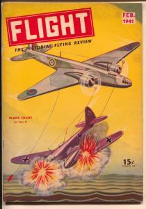Flight #2 2/1941-Gernsback-fantasy air war cover-WWII-warplanes-Nazi-FN/VF