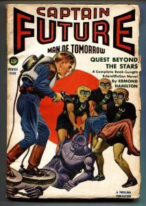 Captain Future Winter 1942-Earle Bergey Aliens menace woman cvr-Pulp mag