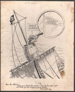 Leo O'Melia Original Sporting News Cartoon Art 1940's-Taylor Spink-pirates-VG