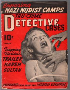 Tru-Crime Detective Stories-3/1941-1st issue-strangulation-bondage-Nazi Nudist C