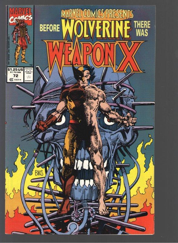 MARVEL COMICS PRESENTS 72 VF+ 8.5;ORG WOLVERINE;WEAPON X!!