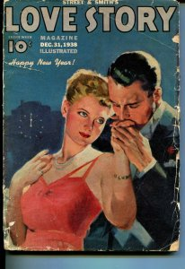 Love Story 12/31/1938-Happy New Year issue-romantic pulp cover-G
