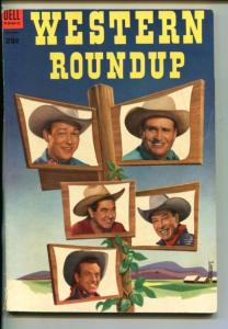 WESTERN ROUNDUP #4-1953 -DELL GIANT-ROY ROGERS-GENE AUTRY-REX ALLEN-fy