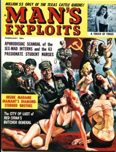 MAN'S EXPLOITS-FEB 1963-COMMIE BUTCHER-PULP-HITLER HORROR-CHEESECAKE