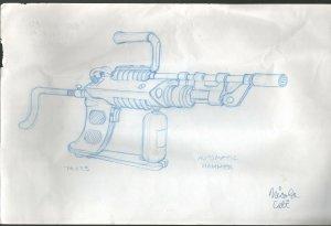 Signed Original Exosquad Animation Concept Art by Nicola Cuti-1994-sci-fi-VG