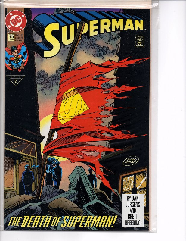 DC Comics Superman #75 Death of Superman1st Printing Un-Bagged Edition