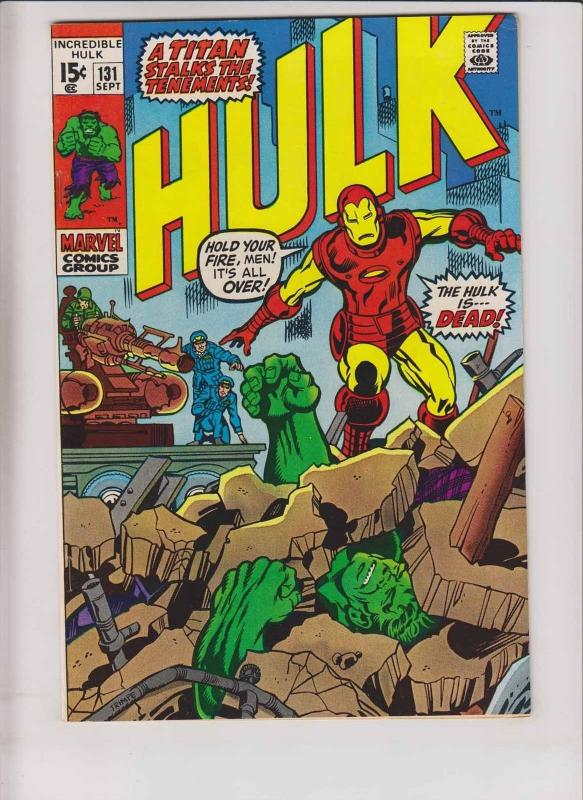 Incredible Hulk #131 VF hulk vs iron man - roy thomas - 1st jim wilson - 1970