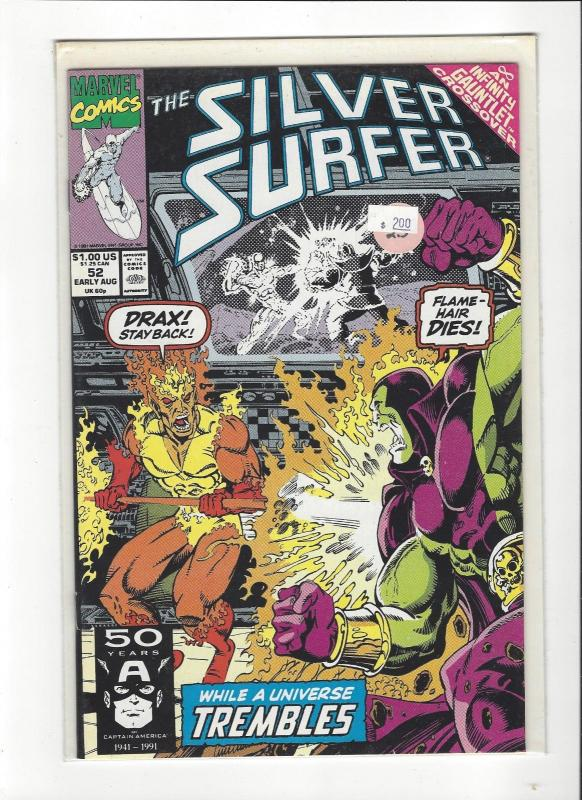 SILVER SURFER  #52 MARVEL COMICS DRAX THE DESTROYER  INFINITY GAUNTLET NM