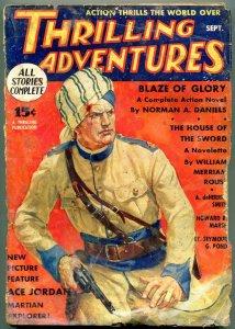 Thrilling Adventures Pulp September 1935- Ace Jordan- Norman Daniels FAIR