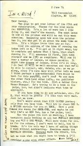 Xenophile Pulp Fanzine-Original Letter From editor Nils Hardin 6/2/1974-VG