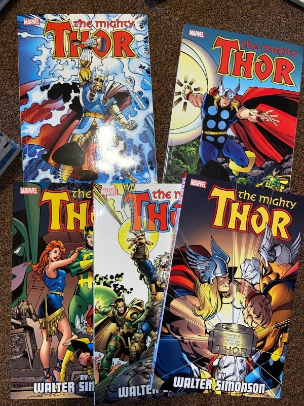 Thor Softcover TPB Lot, Complete Simonson Vol 1, 2, 3, 4, 5, Reprints 337-382