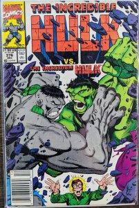 The Incredible Hulk #376 (1990) FINE HULK VS HULK!