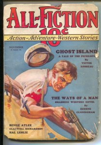 All-fiction #2 11/1933-Boat violence cover-Pulp thrills by Victor Rosseau-Hal...