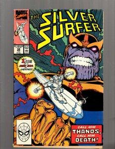 Silver Surfer # 34 VG/FN Marvel Comic Book Thanos Avengers Hulk Thor Vision J450