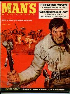 Man's 6/1957-Chris Starr cheesecake-Geronimo-Jerry Allison-uranium-pulp-VG