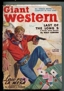 GIANT WESTERN 10/1950-THRILLING-PULP WESTERN-ROBERT J HOGAN-CARD GAME-fr/good